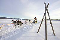 Norwegian Sigrid Ekran runs past a tripod trail marker on the Yukon River as she approaches Kaltag on Sunday morning during Iditarod 2008