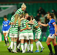 21st April 2021; Celtic Park, Glasgow, Scotland; Scottish Womens Premier League, Celtic versus Rangers; Mariah Lee of Celtic Women celebrates with her team mates after she makes it 1-0 to Celtic in the 80th minute