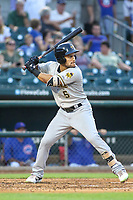 Salt Lake Bees Michael Hermosillo (5) at bat during a Pacific Coast League game against the Iowa Cubs on August 10, 2019 at Principal Park in Des Moines, Iowa.  Iowa defeated Salt Lake 7-3.  (Travis Berg/Four Seam Images)