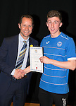 St Johnstone FC Academy Awards Night...06.04.15  Perth Concert Hall<br /> Alec Cleland presents a certificate to Jack Parr<br /> Picture by Graeme Hart.<br /> Copyright Perthshire Picture Agency<br /> Tel: 01738 623350  Mobile: 07990 594431
