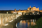 Europe, Spain, Andalucia, Cordoba, Roman Bridge and La Mezauita-Catedral (Catedral Mosque of Cordoba) at Twilight