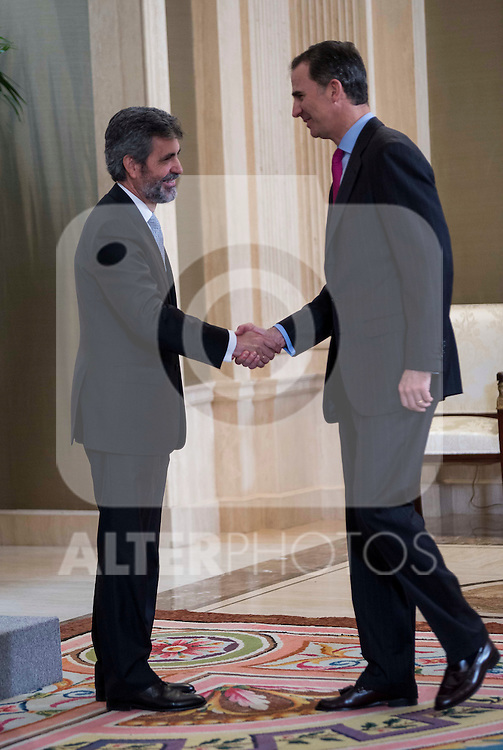 King Felipe VI of Spain and the president of Supreme Court of Spain, Carlos Lesmes during the audience to a representation of the participants in the elaboration of legal spanish dictionary in Madrid. May 11, 2016. (ALTERPHOTOS/Borja B.Hojas)