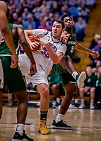 19 January 2019: University of Vermont Catamount Forward Ryan Davis, a Freshman from Schaumburg, IL, in first half Men's Basketball action against the Binghamton University Bearcats at Patrick Gymnasium in Burlington, Vermont. The Catamounts defeated the Bearcats 78-50 to remain unbeaten in conference play to date this season. Mandatory Credit: Ed Wolfstein Photo *** RAW (NEF) Image File Available ***