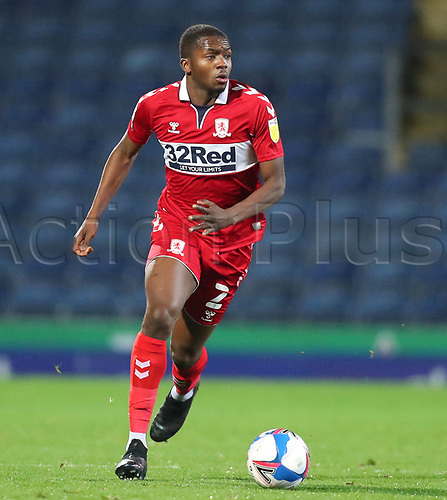 3rd November 2020; Ewood Park, Blackburn, Lancashire, England; English Football League Championship Football, Blackburn Rovers versus Middlesbrough; Anfernee Dijksteel of Middlesbrough looks up after controlling the ball