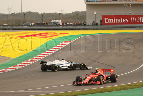 13th November 2020; Istanbul Park, Istanbul, Turkey; FIA Formula One World Championship 2020, Grand Prix of Turkey, Free practise sessions;  16 Charles Leclerc MCO, Scuderia Ferrari Mission Winnow as 63 George Russell GBR, Williams Racing spins his car
