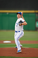 Dunedin Blue Jays starting pitcher Nate Pearson (32) delivers a pitch during a Florida State League game against the Clearwater Threshers on April 4, 2019 at Spectrum Field in Clearwater, Florida.  Dunedin defeated Clearwater 11-1.  (Mike Janes/Four Seam Images)