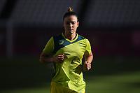 KASHIMA, JAPAN - AUGUST 4: Chloe Logarzo #6 of Australia during warmups before a game between Australia and USWNT at Kashima Soccer Stadium on August 4, 2021 in Kashima, Japan.