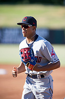 AZL Indians center fielder Quentin Holmes (70) jogs to the dugout between innings during a game against the AZL Angels on August 7, 2017 at Tempe Diablo Stadium in Tempe, Arizona. AZL Indians defeated the AZL Angels 5-3. (Zachary Lucy/Four Seam Images)