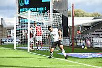 10th October 2020; Sixfields Stadium, Northampton, East Midlands, England; English Football League One, Northampton Town versus Peterborough United; Nathan Thompson give Peterborough the lead.