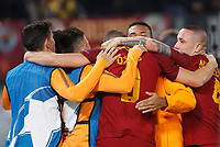 Roma s Edin Dzeko, center, celebrates with his teammates after scoring the winning goal during the Uefa Champions League round of 16 second leg soccer match between Roma and Shakhtar Donetsk at Rome's Olympic stadium, March 13, 2018. Roma won. 1-0 to join the quarter finals.<br /> UPDATE IMAGES PRESS/Riccardo De Luca