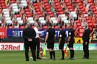 Charlton Manager, Lee Bowyer has words with the match officials at the final whistle during Charlton Athletic vs Reading, Sky Bet EFL Championship Football at The Valley on 11th July 2020