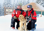 Vail Mountain's Avalanche Rescue Dog, Henry, a Labroador, with  his owner, Vail ski patrol supervisor, Chris 'Mongo' Reeder and Vail ski patrolman  Ben Kurtz.