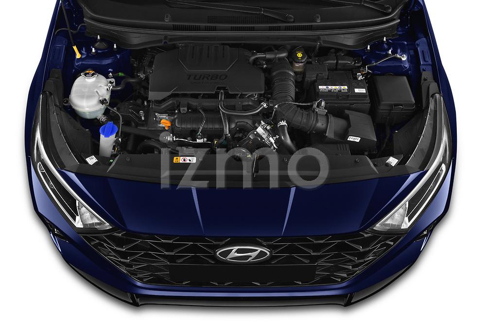 High angle engine detail of a 2021 Hyundai i20 Sky 5 Door Hatchback