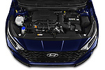 Car Stock 2021 Hyundai I20 Sky 5 Door Hatchback Engine  high angle detail view