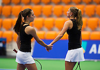 December 16, 2014, Rotterdam, Topsport Centrum, Lotto NK Tennis, Doubles Inge Hendrikx (r) and Tiffany Höberth (NED)<br /> Photo: Tennisimages/Henk Koster