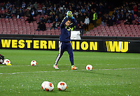 Thursday 27 February 2014<br /> Pictured: Swansea goalkeeper Michel Vorm greets away supporters as he enters the picth to warm up before the game.<br /> Re: UEFA Europa League, SSC Napoli v Swansea City FC at Stadio San Paolo, Naples, Italy.