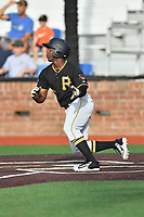 Bristol Pirates center fielder Yondry Contreras (23) runs to first base during a game against the Johnson City Cardinals at TVA Credit Union Ballpark on June 23, 2017 in Johnson City, Tennessee. The Pirates defeated the Cardinals 4-3. (Tony Farlow/Four Seam Images)