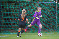 Sanne Peereboom (9) of the Netherlands and Goalkeeper Lise Musique (1) of Belgium in action during an international friendly female soccer game between the national teams of Belgium , called the Red Flames U17 and the Netherlands on Wednesday 8th of September 2020  in Kalmthout , Belgium . PHOTO SPORTPIX.BE | SPP | SEVIL OKTEM