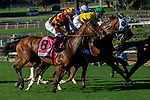 """ARCADIA, CA. SEPTEMEBER 29: #8 Cambodia, ridden by Drayden Van Dyke, and #6 Vasilika, ridden by Flavien Prat,  at the start of the Rodeo Drive Stakes (Grade l) """"Win and You're in Breeders Cup Juvenile Fillies Division"""" on September 29, 2018, at Santa Anita Park in Arcadia, CA. (Photo by Casey Phillips/Eclipse Sportswire/CSM)"""