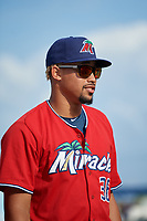 Fort Myers Miracle pitcher Jhoan Duran (36) during introductions before a Florida State League game against the Charlotte Stone Crabs on April 6, 2019 at Charlotte Sports Park in Port Charlotte, Florida.  Fort Myers defeated Charlotte 7-4.  (Mike Janes/Four Seam Images)