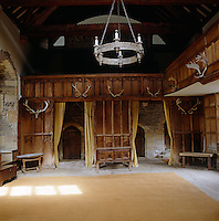 The Banqueting Hall was erected in 1370; the screen is circa 1450 and the gallery and panelling circa 1600