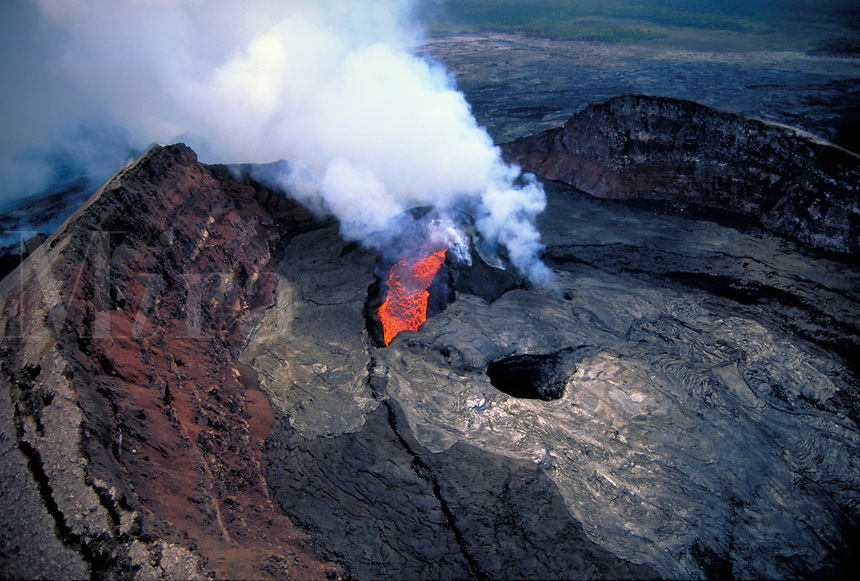 Kilauea Volcano - eruption and lava flow inside Pu'u o'o vent. Hawaii, Volcanoes National Park.