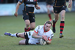 Ulster replacement Ross Adair dives over to ashore a late try.<br /> Guinness Pro12<br /> Gwent Dragons v Ulster<br /> 08.03.15<br /> ©Steve Pope - SPORTINGWALES