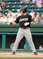 August 18, 2008: Caleb Gindl of the West Virginia Power, Class A affiliate of the Milwaukee Brewers, in a game against the Greenville Drive at Fluor Field at the West End in Greenville, S.C. Photo by:  Tom Priddy/Four Seam Images