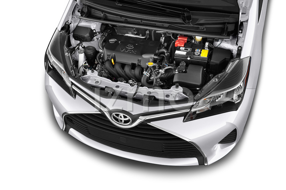 Car Stock 2015 Toyota Yaris LE 3-Door Liftback AT 3 Door Hatchback Engine high angle detail view