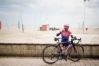 Jonathan Klever Caicedo (ECU/EF Education First) taking a pre-race break at the beach<br /> <br /> Stage 8: Tortoreto Lido to Pesaro (239km)<br /> 102nd Giro d'Italia 2019<br /> <br /> ©kramon