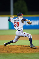 Danville Braves relief pitcher John Curtis (30) in action against the Burlington Royals at Burlington Athletic Stadium on August 15, 2017 in Burlington, North Carolina.  The Royals defeated the Braves 6-2.  (Brian Westerholt/Four Seam Images)