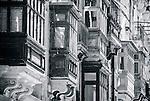 Tradittional balconies in historical part of Valletta in Malta