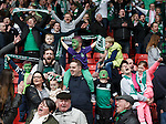 Hibs fans celebrate getting through to the Scottish Cup Final