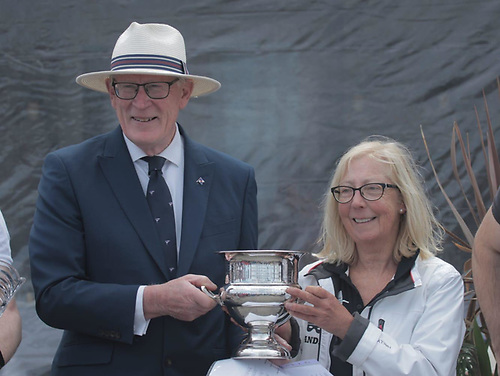 Commodore Martin McCarthy of the National Yacht Club presents Bandit skipper Ann Kirwan with the Ruffian 23 National Championship trophy