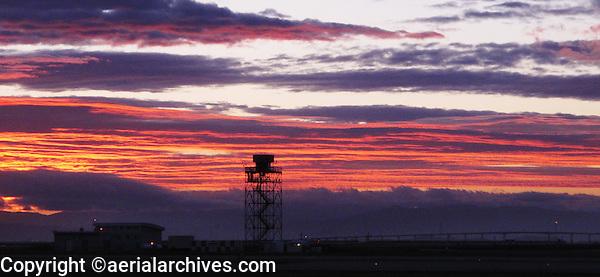 aerial photograph of San Francisco International airport SFO at dawn