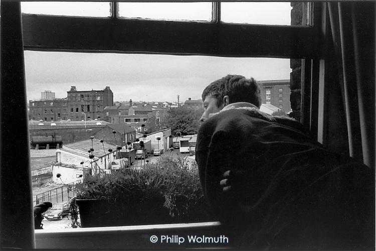 Tenant in Culross Buildings, Kings Cross, 1990.
