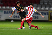 Danny Newton of Stevenage F.C. and Jay Bird of MK Dons F.C. during Stevenage vs MK Dons, EFL Trophy Football at the Lamex Stadium on 6th October 2020
