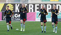20180228 - LARNACA , CYPRUS :  Belgian Aline Zeler (left) , Justine Vanhaevermaet , Silke Vanwynsberghe and Heleen Jaques (r) pictured during a women's soccer game between Spain and the Belgian Red Flames , on friday 2 March 2018 at the AEK Arena in Larnaca , Cyprus . This is the second  game in group B for  Belgium during the Cyprus Womens Cup , a prestigious women soccer tournament as a preparation on the World Cup 2019 qualification duels. PHOTO SPORTPIX.BE | DAVID CATRY