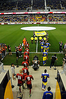Players enter the field prior to the match. The men's national team of the United States (USA) was defeated by Ecuador (ECU) 1-0 during an international friendly at Red Bull Arena in Harrison, NJ, on October 11, 2011.