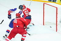 22nd May 2021, Riga Olympic Sports Centre Latvia; 2021 IIHF Ice hockey, Eishockey World Championship, Great Britain versus Russia;  8 Matthew Myers Great Britain crashes the net but this time no rebound as the puck goes in for a goal for Great Britain