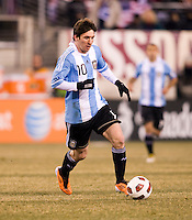 Lionel Messi (10) of Argentina brings the ball upfield during an international friendly at New Meadowlands Stadium in East Rutherford, NJ.  The United States tied Argentina, 1-1.