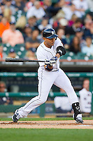 Omar Infante (4) of the Detroit Tigers takes his swings against the Tampa Bay Rays at Comerica Park on June 4, 2013 in Detroit, Michigan.  The Tigers defeated the Rays 10-1.  Brian Westerholt/Four Seam Images