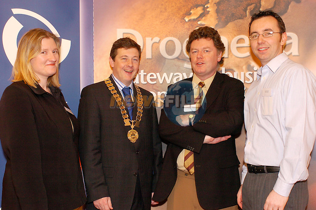 Louisa Maher Mor Solutions Sponsor, Mark Markey President Drogheda Chamber of Commerce, David Davenpower guest speaker and Graham  ???? Mor Solutions at the Chamber Lunch in the West Court Hotel..Photo AFP/NEWSFILE/FRAN CAFFREY..(Photo credit should read FRAN CAFFREY/NEWSFILE/AFP)...This Picture has been sent you under the condtions enclosed by:.Newsfile Ltd..the Studio,.Millmount Abbey,.Drogheda,.Co Meath..Ireland..Tel: +353(0)41-9871240.Fax: +353(0)41-9871260.GSM: +353(0)86-2500958.email: pictures@newsfile.ie.www.newsfile.ie.FTP: 193.120.102.198..This picture is from Fran Caffrey@newsfile.ie