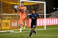 SAN JOSE, CA - SEPTEMBER 16: Steve Clark #12 of the Portland Timbers controls the ball infront of Marcos Lopez #27 of the San Jose Earthquakes during a game between Portland Timbers and San Jose Earthquakes at Earthquakes Stadium on September 16, 2020 in San Jose, California.