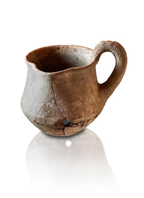 Hittite terra cotta cult side handled spouted jug. Hittite Period 1650 - 1450 BC, Ortakoy Sapinuvwa .  Çorum Archaeological Museum, Corum, Turkey. Against a white bacground.