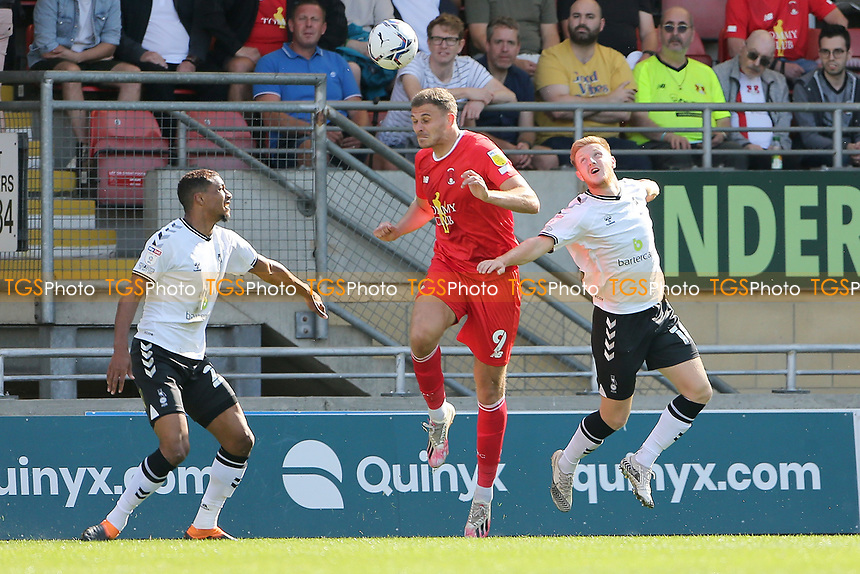 Harry Smith of Leyton Orient and Davis Keillor-Dunn of Oldham Athletic during Leyton Orient vs Oldham Athletic, Sky Bet EFL League 2 Football at The Breyer Group Stadium on 11th September 2021