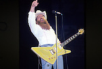 ZZ Top performing live at Madison Square Garden, NYC, June 1983. Eliminator Tour. Billy Gibbons