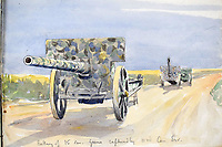 BNPS.co.uk (01202 558833)<br /> Pic: StroudAuctions/BNPS<br /> <br /> Pictured: A watercolour of heavy guns on a road near the front line <br /> <br /> The poignant sketchbook of a World War One surgeon has been unearthed a century later.<br /> <br /> Captain Theodore Howard Somervell, of the Royal Medical Corps, treated hundreds of wounded Tommies in a field hospital at the Battle of the Somme.<br /> <br /> He was one of just four surgeons working flat-out in a tent, as scores of casualties lay dying on stretchers outside on the bloodiest in British military history.<br /> <br /> There is a sombre pencil sketch of a soldier on the operating table surrounded by a nurse and doctors. Another watercolour shows the bodies of soldiers strewn on a boggy Western Front battlefield.<br /> <br /> Capt Somervell, who was Mentioned In Despatches, drew landmarks including churches which were reduced to rubble in the deadly barrage. He also took rare photos of life on the frontline, including some taken inside an operating theatre. His sketchbook is being sold by a direct descendant with Stroud Auctions, of Gloucs.
