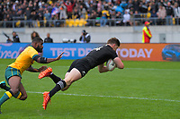 NZ's Jordie Barrett scores the first try during the Bledisloe Cup rugby union match between the New Zealand All Blacks and Australia Wallabies at Sky Stadium in Wellington, New Zealand on Sunday, 11 October 2020. Photo: Dave Lintott / lintottphoto.co.nz