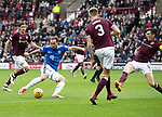 St Johnstone v Hearts…29.09.18…   Tynecastle     SPFL<br />Chris Kane's shot is deflected over<br />Picture by Graeme Hart. <br />Copyright Perthshire Picture Agency<br />Tel: 01738 623350  Mobile: 07990 594431